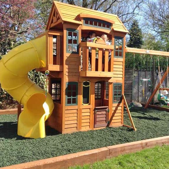 climbing frame with rubber mulch safety surface